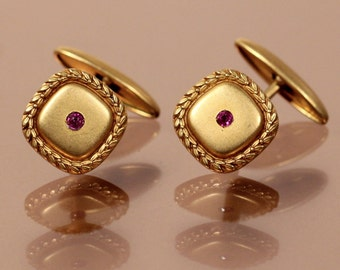 Antique Cuff Links Gold Plated Cuff Links Faceted Rhinestone Brand FIX Dressy Elegant Cuff Links French Edwardian Accessories