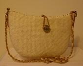 Vtg White Structured Wicker Shoulder Bag