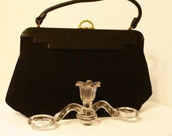 Vtg Lewis Black Wool Structured Handbag