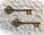 Reneabouquets Key Set Of 2 - Garden Gate Vintage Bronze Metal Key, Skeleton Key