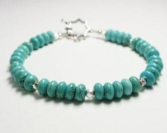 Magnesite Turquoise Rondelle Bracelet - Handmade Beaded Magnesite Turquoise Bracelet