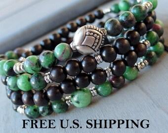 POSITIVITY, 108 Mala, Lotus Mala, Ruby Zoisite, wrap bracelet or necklace, Prayer beads, Buddhist Rosary, Reiki Charged, Lotus mala, yoga