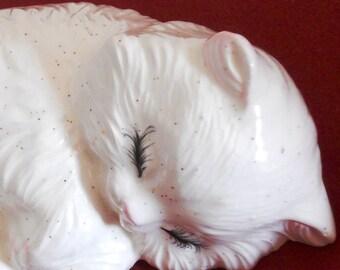 Napping Kitten Figurine - White Ceramic