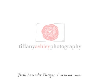 Custom Logo Design Premade Logo with Watermark for Photographers and Small Craft Boutiques Hand Drawn Camera with Hand Drawn Floral Lens