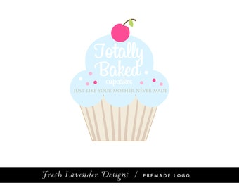 Custom Logo Design Premade Logo and Watermark for Photographers Etsy Shop and Crafty Boutiques Big Cupcake with Cherry on top