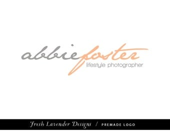 Premade Logo for Photographers and Small Crafty Boutiques Grey and Periwinkle Text Script Logo