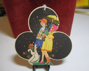 Art deco die cut gold gilded hallmark 1920's-30's easter bridge tally girl and boy holding umbrella pot of flowers with geese and daisies