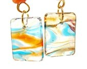 Contemporary Art Beach Scene Glass Beads in Turquoise and Orange with Orange Accent Beads