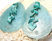 Light Aqua Teardrop Capiz Shells with Turquoise Shell Chips and Swarovski Crystals
