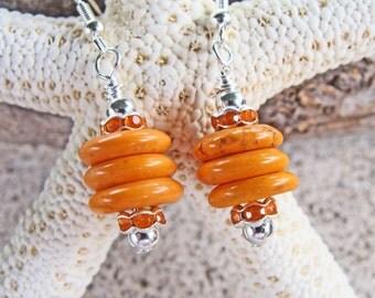 Orange Howlite Turquoise Rondelle Earrings with Rhinestones