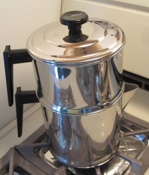 vintage lifetime cookware stainless steel drip coffee pot made. Black Bedroom Furniture Sets. Home Design Ideas
