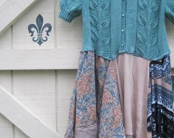Lagan look dress,boho bohemian dress, patchwork gypsy, tattered dress, Spring tatterede dress, M medium laganlook,