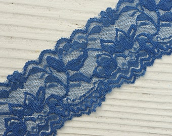 "Elastic Lace - NAVY BLUE - 2"" Stretch Lace - Wide Lace Elastic - Stretchy Lace by the Yard - 2"" Lace - 2 inch Lace Yardage - Thick Lace"