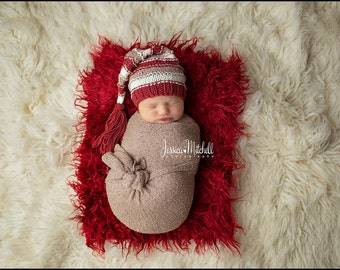 Newborn Hat, Stocking Hat, Dark Red, Cream, Tan, Photo Prop