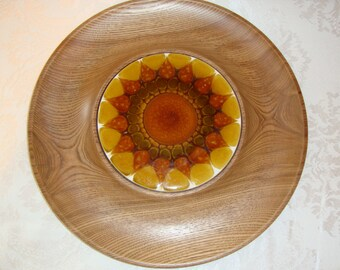 Vintage Round Vintage Woodbury Woodware Trivet Serving Tray Sunflower Tile Center Cheese Snack Platter