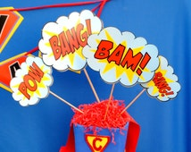 SUPERHERO Party - POWER Words - Bursts- Super Hero Birthday Party- Boys Birthday Party - Superheroes Party -Centerpiece - Instant Download