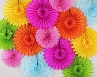 Children's Birthday Party Decorations - 13 Tissue Paper Flower Fans Decor Kit