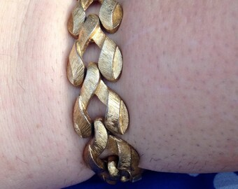 Monet Brushed Gold Tone Chunky Link Bracelet
