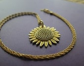 Gold Necklace with Sunflower Pendant