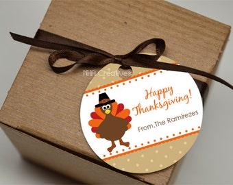 Personalized Thanksgiving Turkey Favor Tag - DIY Printable Digital File