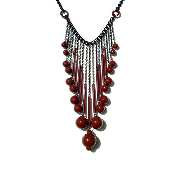 Bubble Drop Statement Necklace - Burgundy
