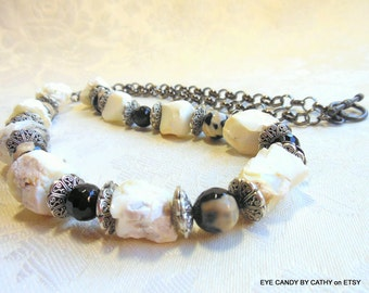 Agate necklace, gemstone necklace, chunky necklace, stone necklace, black, white, black onyx