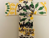 Bible verse proverbs 31:30 Baylor Bears University themed green and yellow  painted Christian cross Christian birthday gift