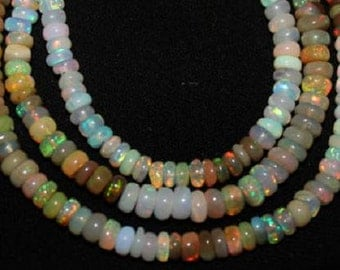 Ethiopian Opal Beads 17 Pcs Drilled Rondelle 3-6mm Amazing Loose Strand Semiprecious Gemstones Take 20% Off Bridal Jewelry Supplies Sale