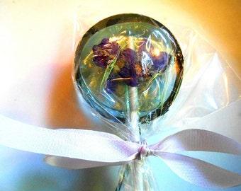 "CUSTOM ORDER - 100 Gourmet Lavender Flavored Teal Ice Wild Bachelor Button Floret 2"" Lollipops"