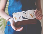 Bird Watching Wristlet. Bird Lovers, Bird Print, Birds, Bird Fabric
