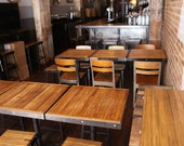 RESTAURANT FURNITURE INDUSTRIAL, industrial Stools, chairs, bar, tables, cafe,  vegan, coffee house, club, vegetarian, reclaimed wood, chic.