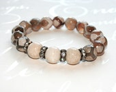 Tibetan agate bracelet, Taupe stretch bracelet, Stacking bracelet, DZI bead bracelet, Yoga jewelry