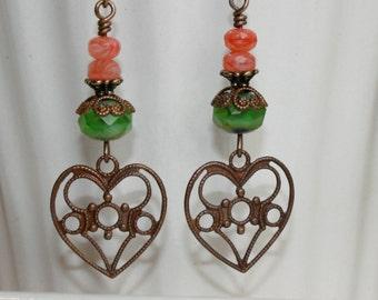Dangling Heart Earrings, Green and Coral earrings, Vintaj earrings, Rustic jewelry, Filigree Earrings