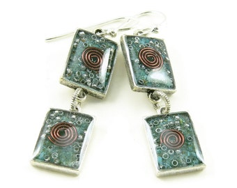 Orgone Energy Earrings - Turquoise Gemstone Dangle Earrings - Geometric Rectangle Earrings - Positive Energy Generator - Artisan Jewelry
