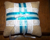 Handmade Custom Burlap Ring Bearer Pillow Lace Satin Trim