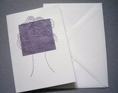 Stitched Greetings Card. Purple Abstract Spiral Tree Design