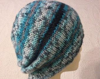 Striped knit slouchy beanie hat, unisex hat, mens hat, womens hat, teal striped hat, black striped hat, grey striped hat