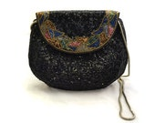 Vintage Beaded Midcentury Style Purse Black with Colorful Floral Trim and Silver Toned Chain