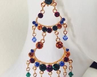 Vintage dark multi tone chandelier earrings