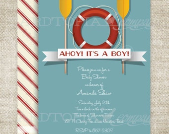 Nautical Baby Boy Baby Shower Invitation Invitations Banner Oars Life Preserver Floaty Printable Personalized - 179186807