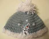 Little Girls Crocheted Olaf Hat