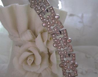 Art Deco Bracelet Rhinestone Pave set Vintage Downton Abbey 20s 30s Bridal Jewelry Bracelet Bracelate Authentic Vintage Estate Item