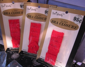 Vintage Bra Closures by Sew Lovely Lingerie New in Package 60s Set of 3