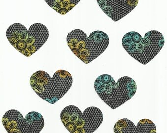 Set of 10 Black Lacy Floral Hearts Fabric Iron On Appliques