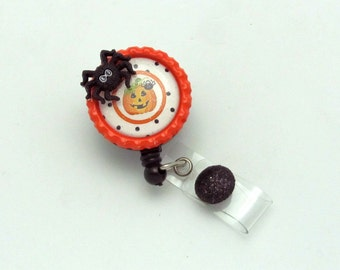 Halloween Badge Reel - Retractable Badge Reel - Fall ID Pull - Holiday Badge Clip - Pumpkin ID Holder - Designer Badge Pull - Fun ID Reel