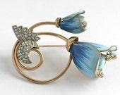 AMAZING Blue Flower Brooch Pin// Vintage Rhinestone Enamel Jewelry