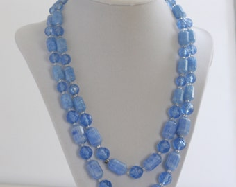 Vintage Double Strand Blue Plastic Necklace Signed West Germany // Midcentury Jewelry