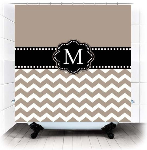 Taupe White Chevron Monogram Fabric Shower Curtain You