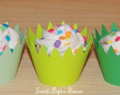 24 Cupcake Wrappers - Grass - Three Shades of Green (Cardstock) (Spring, Summer, Easter, Party, Theme, Birthday, Dinosaur, Soccer, Sports)