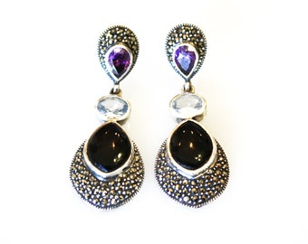 Vintage Onyx Marcasite Earrings / Purple and Blue Stones / Sterling Silver